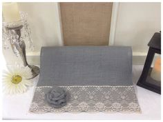 Grey Burlap & Lace Table Runner  12 or 14 wide by CreativePlaces