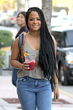 Christina Milian Photos Photos Christina Milian Grabs Lunch is part of Twist braid hairstyles - Christina Milian Photos Christina Milian is all smiles as she grabs lunch with a friend on Miami's famous Ocean Drive Christina Milian Grabs Lunch Box Braids Hairstyles For Black Women, Twist Braid Hairstyles, Twist Braids, African Hairstyles, Girl Hairstyles, Hairstyles 2018, Twists, Short Box Braids, Blonde Box Braids