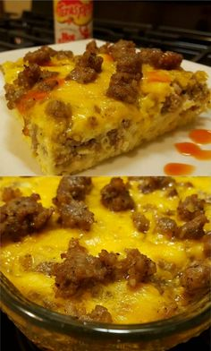 Sausage Egg and Cheese Breakfast Casserole, or Christmas Casserole as it's known at our house, is and easy to prepare recipe. This casserole can even be made the night before. There's no heavy bread… Breakfast Egg Casserole, Breakfast Casserole Sausage, Breakfast Dishes, Breakfast Time, Breakfast Recipes, Breakfast Ideas, Brunch Casserole, Breakfast Dessert, Egg Recipes