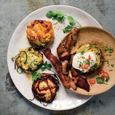 Taste Mag | Rainbow Ricotta cakes with chipotle bacon @ https://taste.co.za/recipes/rainbow-ricotta-cakes-chipotle-bacon/