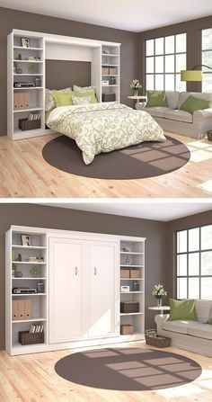 38 most popular small master bedroom makeover ideas 16 Small Master Bedroom, Master Bedroom Makeover, Murphy-bett Ikea, Modern Murphy Beds, Folding Beds, Murphy Bed Plans, Bed Wall, Decorate Your Room, Space Saving