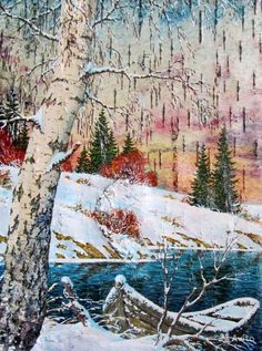 Авторская работа художника - Зинина Сергея Александровича. Картина написана на экологически чистом материале - на бересте.  Размер картины без багета - 42х32 см.