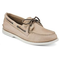 Sperry AO Leather Boat Shoes (325 BRL) ❤ liked on Polyvore featuring men's fashion, men's shoes, men's loafers, cream, sperry top sider mens shoes, sperry mens shoes, mens leather shoes, mens leather deck shoes and mens deck shoes