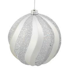 """Silver Splendor Glitter Swirl Shatterproof Christmas Ball Ornament 6"""""""" (150mm)"""