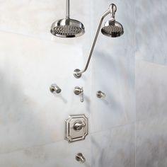 Vintage Pressure Balance Shower System - Dual Shower Heads and 3 Body Sprays - Lever Handle - Showers - Bathroom Brass Shower Head, Dual Shower Heads, Shower Fittings, Shower Faucet, Shower Set, Rain Shower, Craftsman Style Bathrooms, Automatic Soap Dispenser, Shower Diverter