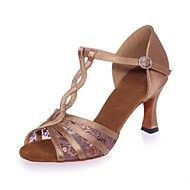 Damskie Buty Do Latino Satyna Sandaly Cekin Klamra Obcas Flare Buty Do Tanca Czarny Brazowy Czerwony Latin Shoes Dancesport Shoes Ankle Strap Sandals