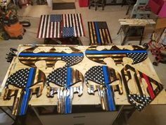 Handmade all wood, Punisher skull Thin Blue Line American flag. Thin red line also available. Wood Flag, Thin Blue Lines, Punisher, Pallet Ideas, Plywood, Flags, Kids Rugs, Handmade Gifts