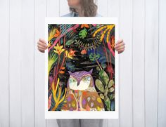 Hey, I found this really awesome Etsy listing at https://www.etsy.com/listing/248335305/an-owl-in-the-jungle-a2-large-format