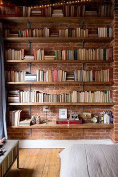 Living Room Shelves Wall Exposed Brick 57 Ideas For 2019 Cool Bookshelves, Bookshelf Design, Wall Shelves Design, Bookshelf Ideas, Homemade Bookshelves, Diy Bookshelf Wall, Diy Wall, Bookcase, Bibliotheque Design