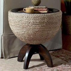 Carmel Round Drum End Table. Hmmm, sorta could look like a twine covered version of a bullet planter.