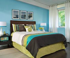 A trendy color palette gives this bedroom a cool, contemporary vibe.