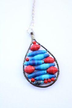NEW!! Long Red/Blue, Red Desert, Dark Purple & Light Blue Paper Bead Rain Drop Pendant Necklaces   Made By Fidelia by LasAguasVerdes on Etsy https://www.etsy.com/listing/456587720/new-long-redblue-red-desert-dark-purple