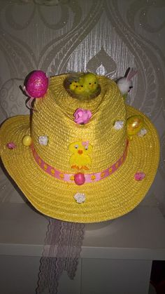 easter bonnet hat with lace chin tie in easter yellow! more available! by PetitechicboutiqueGB on Etsy