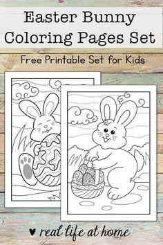 Celebrate Easter and Spring with these free Easter Bunny coloring pages, perfect for kids (and adults) of all ages. Includes 2 Easter Bunny coloring sheets. #EasterBunnyColoringPages #EasterColoringPages