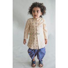 Beige Ajrakh Printed Khadi Cotton Kurta with Blue Cotton Dhoti - Set of 2 Kids Party Wear Dresses, Girls Party Wear, Kids Dress Wear, Kids Wear, Kids Indian Wear, Kids Ethnic Wear, Baby Boy Dress, Baby Dresses, Toddler Dress