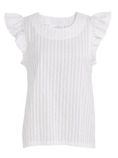 Frilled-sleeve top   This light and easy to wear cotton blouse is made from 100% cotton that has a delicate embroidered spot. It has a curved neckline and fun, feminine frill sleeves.