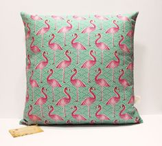 Pink Flamingo cushion cover by handmadebymeshop on Etsy Scatter Cushions, Throw Pillows, Flamingo Fabric, Flamingo Nursery, Shabby, Pink Flamingos, Online Gifts, Home Decor Accessories, Cushion Covers