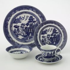 My Grandma had these.  Johnson Brothers 20-pc. Willow Dinnerware Set