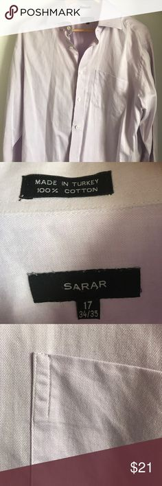 European Design Men's Shirt Light purple European design men's dress shirt. Top notch great quality. Better than a lot of shirts that come to the US. Bought it in Europe. Excellent condition!! SARAR Shirts Dress Shirts