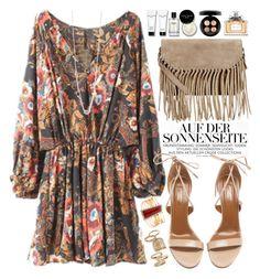 """Boho Mini Dress"" by oshint ❤ liked on Polyvore featuring Aquazzura, Accessorize, Bobbi Brown Cosmetics, MAC Cosmetics, Christian Dior and Topshop"