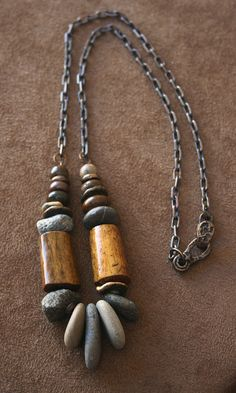 Rustic Necklace Sterling Silver, Elk Antler, Solid Bronze, Fossilized Coral, Chestnut Jasper - Jewelry US Rock Jewelry, Tribal Jewelry, Clay Jewelry, Stone Jewelry, Jewelry Crafts, Jewelry Art, Beaded Jewelry, Silver Jewelry, Jewelry Necklaces