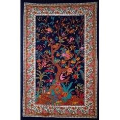 Handmade Cotton Tree of Life Tapestry Tablecloth Spread Twin Full 70x104 Black Multicolor (Twin), Multi