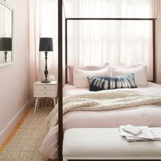 Beautiful Pink inspired bedroom. Painted in Ralph Lauren Paint color Bonneted with Box Pleat White.