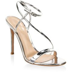 Gianvito Rossi Metallic Ankle-Strap Sandals (10 385 ZAR) ❤ liked on Polyvore featuring shoes, sandals, heels stilettos, metallic shoes, open toe sandals, silver metallic shoes and silver ankle strap sandals