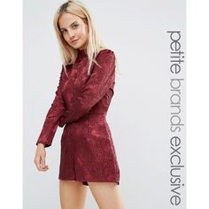 Fashion Union Petite High Neck Long Sleeve Jacquard Romper ($26) ❤ liked on Polyvore featuring jumpsuits, rompers, petite, red, petite rompers, long-sleeve rompers, red romper, party rompers and red rompers