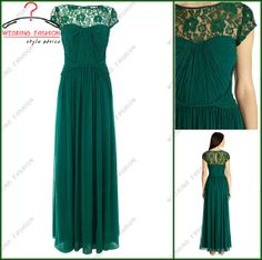 Prom dress lace Short sleeves Top lace high collar long ruffled green chiffon lace evening dress /cocktail/ pageant dress for wedding party on Etsy, $105.00