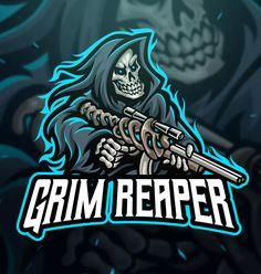 Grim Reaper Sniper Sport and Esport Logo Template by Blankids on Envato Elements Team Logo Design, Mascot Design, Logo Desing, King Sport, Youtube Logo, Esports Logo, Skull Logo, Professional Logo Design, Gaming Wallpapers