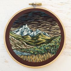 Super moody free-hand landscape hoop! What do you think of this style? Too much drama? Or is it just enough drama?
