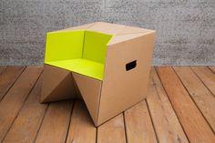 33 Creative Cardboard Furniture Designs - From Folded Cardboard Furnishings to Comfy Waffle Seating (TOPLIST) Cardboard Chair, Diy Cardboard Furniture, Paper Furniture, Cardboard Design, Cardboard Crafts, Kids Furniture, Furniture Design, Paper Crafts, Bamboo Furniture