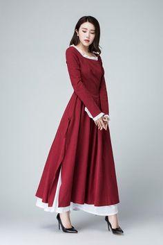 burgundy dress Linen Dress long sleeve dress long linen | Etsy Spring Dresses, Day Dresses, Belle Blue Dress Costume, Fit And Flare, Linen Dresses, Dresses With Sleeves, Swatch, Side Slit Dress, Burgundy Dress