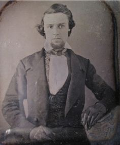 1850's daguerreotype of a unidentified man with black leather gloves. Submitted by Sarah
