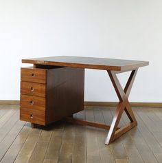 Pierre Jeanneret, Desk, Circa 1960, wood and leather