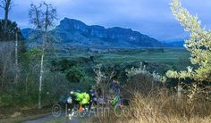 trail runners start the skyrun, a run that takes them from Royal Natal up to and along the Drakensberg escarpment up the chain ladders and back down again