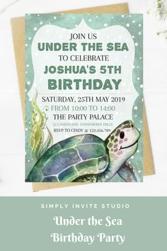 This Under the Sea Birthday Invite is perfect for a little boys' birthday party. This easy to edit birthday party invitation will be a great addition to your little one's Under the Sea Birthday Party Theme. Boy Birthday Invitations, Birthday Invitation Templates, Diy Invitations, Birthday Party Themes, Invite, Under The Sea Theme, Birthday Template, Turtle Birthday, Party Planning