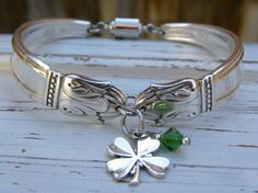 Spoon handle bracelet  clover charm  green by WhisperingMetalworks