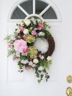 Summer Wreath-Spring Door Wreath-Hydrangea Wreath-Summer Wreaths-Cottage Chic Wreath-Mother's Day Gift-Designer Wreath-Regina's Garden