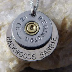 Backwoods Barbie 12 Gauge Bullet Necklace by WireNWhimsy on Etsy, $30.00.  I'm pretty sure dad could make this.