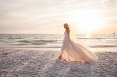 Boho Beach Wedding Bridal Portrait, Bride wearing Blush Pink Floral Lace Monique Lhuillier Wedding Dress and Wedge Sandals   Clearwater Beach Wedding