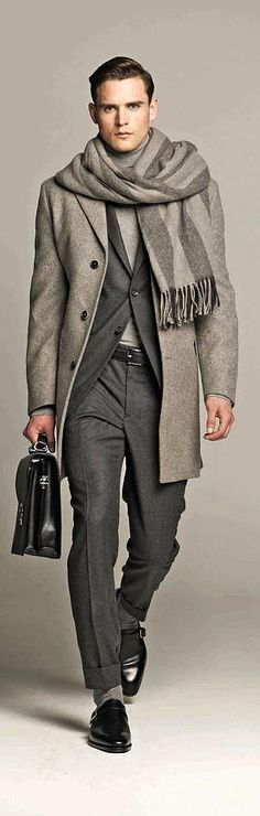 Shades of Grey, Wool Overcoat, Suit, and Black Leather Briefcase, by Hackett. Men's Fall Winter Fashion.