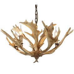 Add A Christmas Tone To Your Home With This Faux Antler Rustic Deer Chandelier