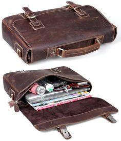 """Vintage Crazy Horse Leather Briefcase / Messenger / 13"""" 14"""" Laptop or 13"""" 15"""" MacBook Bag"""