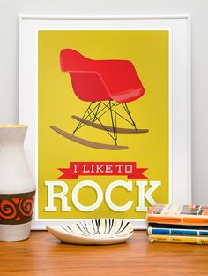 Eames Nursery art Typography print  chair art  happy poster  - I like to rock -  Yellow