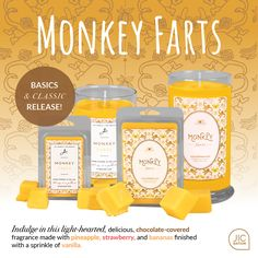 Monkey Farts | The Classics & The Basics  https://www.jicnation.com/store/peggyarnold/p/1540:c:101/new-releases/monkey-farts-candle/