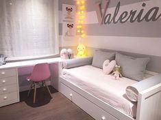 Feliz noche! WWW.BABYKIDSDECO.COM #decoracioninfantil escaleras #camanido #muebles #mobiliario #textil #deco #decoracion #guirnalda… Kids Room Design, Teen Bedroom, Bedroom Decor, Spare Room, Boy Room, Big Girl Rooms, Daybed Room, Guest Room, Quartos Tumblr