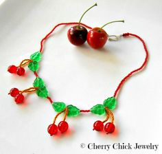 Cherry Necklace, Cherry Jewelry, Rockabilly by Cherry Chick on Etsy