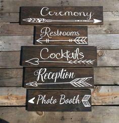 Idée de panneaux d'orientations pour le mariage et la réception.